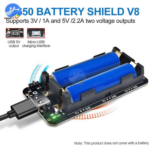 Double 18650 Lithium Battery Shield V8 Mobile Power bank Expansion Board Module USB 5V/3A 3V/1A For Arduino ESP32 ESP8266 WIFI