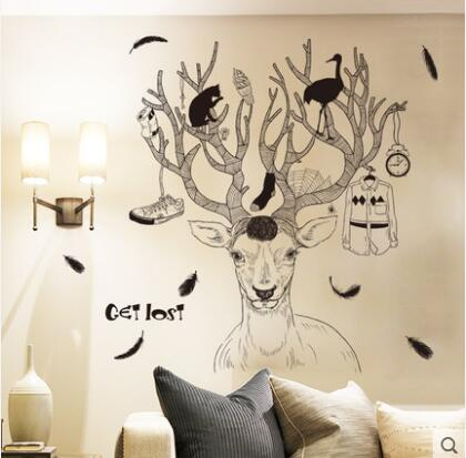 Waterproof adhesive can remove wall stick fashion creative living room bedroom adhesive stickers hand-painted wall paper elk