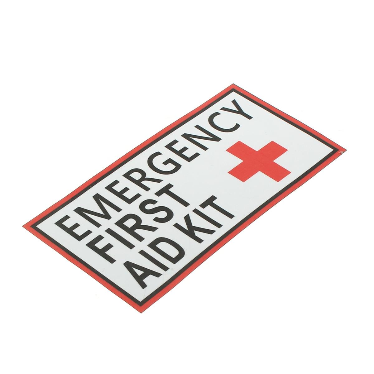 Виниловая наклейка для экстренных случаев, 4 размера, водонепроницаемая наклейка с красным крестом