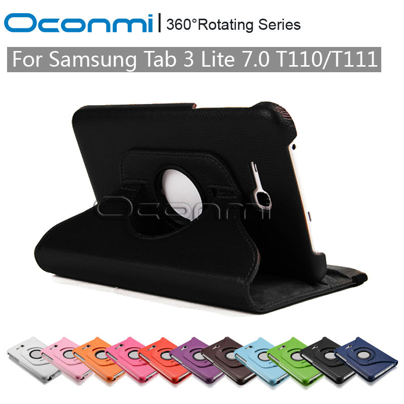 360 rotating pu leather case for samsung galaxy tab 3 lite 7 0 inch with stand function for. Black Bedroom Furniture Sets. Home Design Ideas