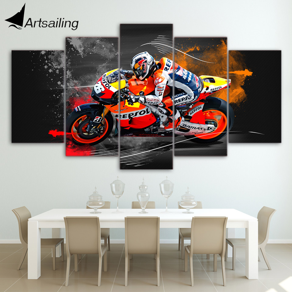 5 Piece Canvas Art Red Bull Racing Canvas Painting Framed Wall Art Canvas Poster and Print