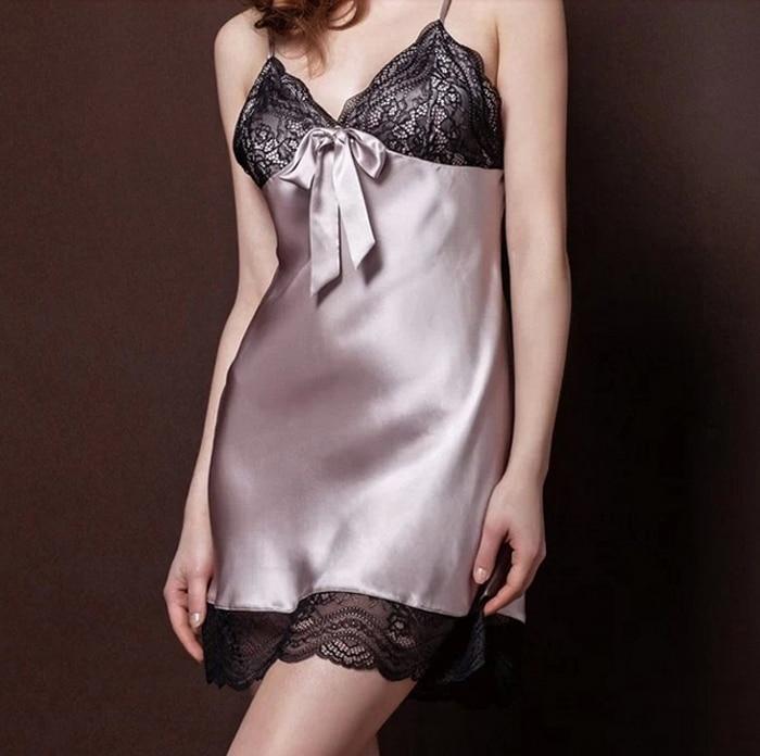 Ženy Sexy hedvábné saténové noční košile bez rukávů na spaní V-krk Nighty Lace Nightwear Fashion Night Dress Sleep Wear for Summer