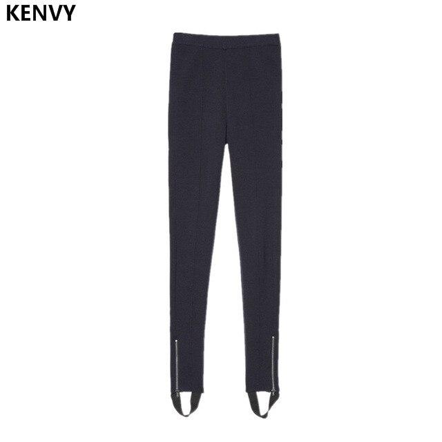 KENVY High-end luxury brand womens winter fashion slimming leggings stirrup Foot pants