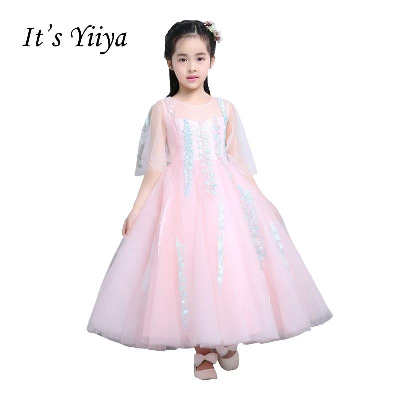 It's YiiYa Backless Illusion Pink Chiffon Zipper Appliques Ankle Length Lace   Flowers   Princess   Flower     Girls     Dress   Communion TS222