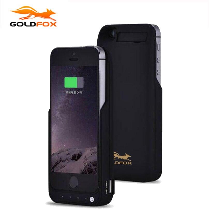 GOLDFOX 4200mAh Portable Backup External Battery <font><b>Charger</b></font> <font><b>Case</b></font> with USB Port Power Bank Charging <font><b>Case</b></font> Cover <font><b>For</b></font> <font><b>iPhone</b></font> 5 5S SE