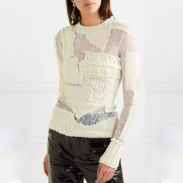 TWOTWINSTYLE Hollow Out Knitting Women's Sweater Long Sleeve Patchwork Lace White Pullovers Female Autumn Fashion Tide 2019 5