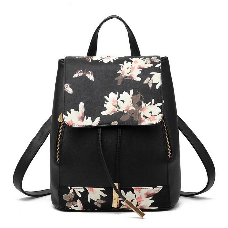 JIULIN Preppy Style School Backpack Artificial Leather Women Shoulder Bag Floral School Bag For Teens Girls