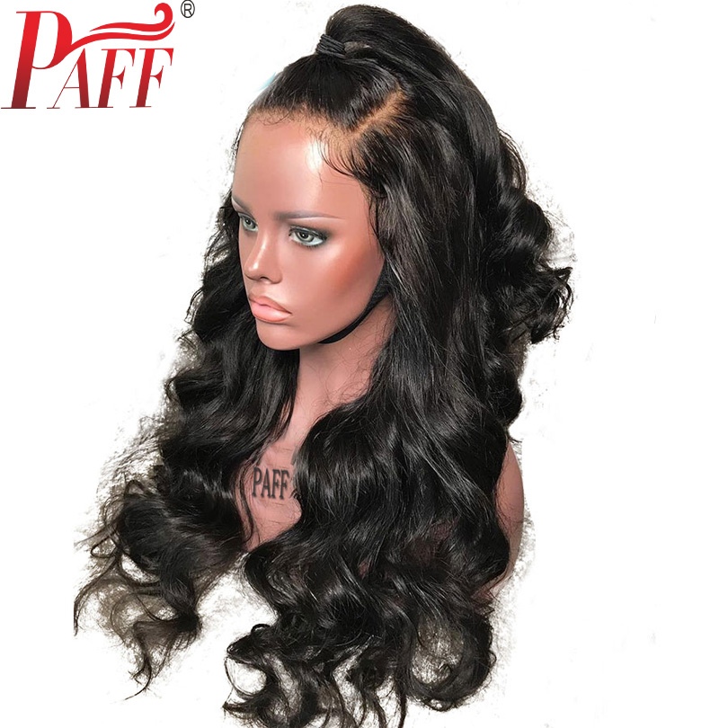 PAFF 13X6 Deep Part Pre Plucked Lace Front Human Hair Wigs With Baby Hair Brazilian Remy Hair Wig Natural Color Free Part