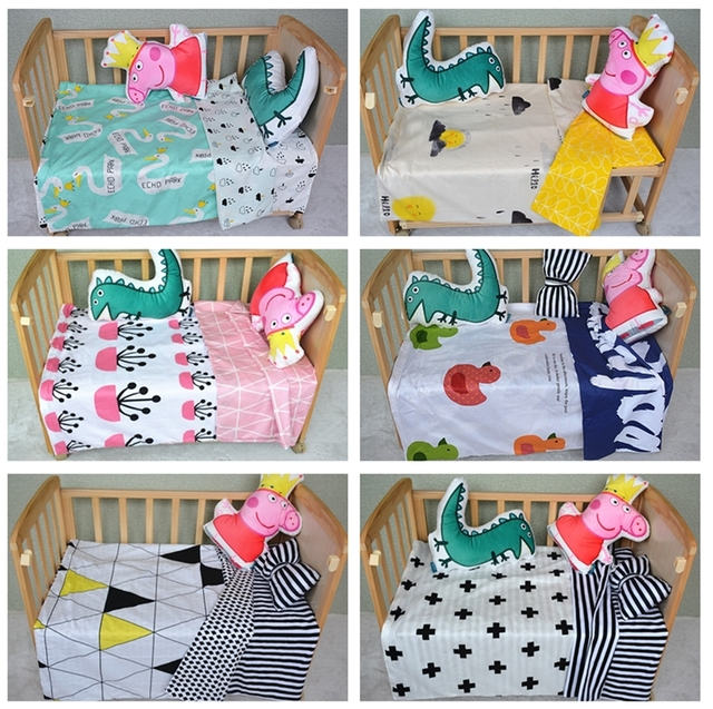 Baby bedding set 3pcs/set crib bedding set new arrival cute star bear duck design 100% cotton for newborn best gift