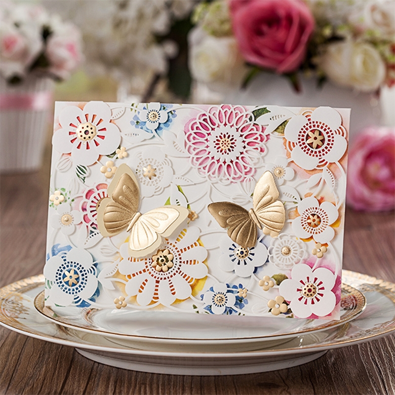 New Design Sytle Elegant Gold Butterfly Laser Cut Wedding Invitations Printing Blank Paper Flower Lace Invitation Card Kit square design white laser cut invitations kit blanl paper printing wedding invitation card set send envelope casamento convite