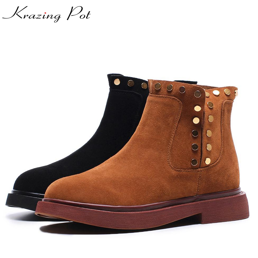 Krazing Pot hot sale cow suede rivets streetwear med heels warm zipper boots round toe nude western keep warm Chelsea boots L91 krazing pot hot sale cow suede round toe thick high heels fashion office lady bowtie design keep warm quality ankle boots l8f1