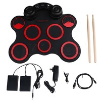Yibuy Black Red Portable 7 Silicon Pads Built In Speakers USB Electronic Roll Up Drum Kit