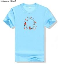 97c33a09b5c Casual Animal Bird Flower Print Men Tees Cotton 2019 Summer Women T-shirt  Plus Size