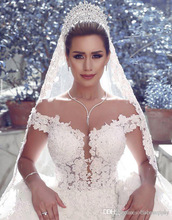 Ball Gown Dubai Design Wedding Dresses Off Shoulder Modest Wedding Gowns Luxury Bridal Dresses With Appliqued