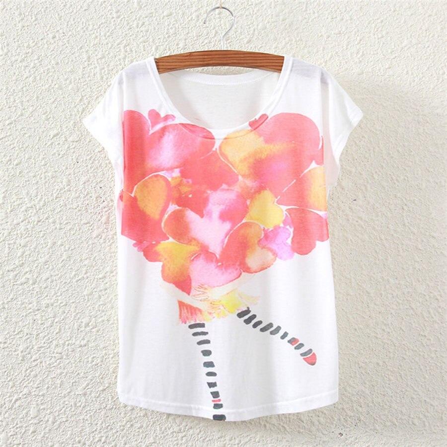 2018 New Fashion Vintage Summer T Shirt Women Clothing Tops Animal Print T-shirt White Clothes