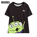2016 summer women's fashion t-shirt three-eyes Alien print graphic tee top for woman ladies harajuku casual oversized tshirt