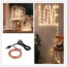 led string lights 10m 33ft 100led 5v usb powered outdoor warm white copper wire christmas festival wedding party decoration - Usb Powered Christmas Lights