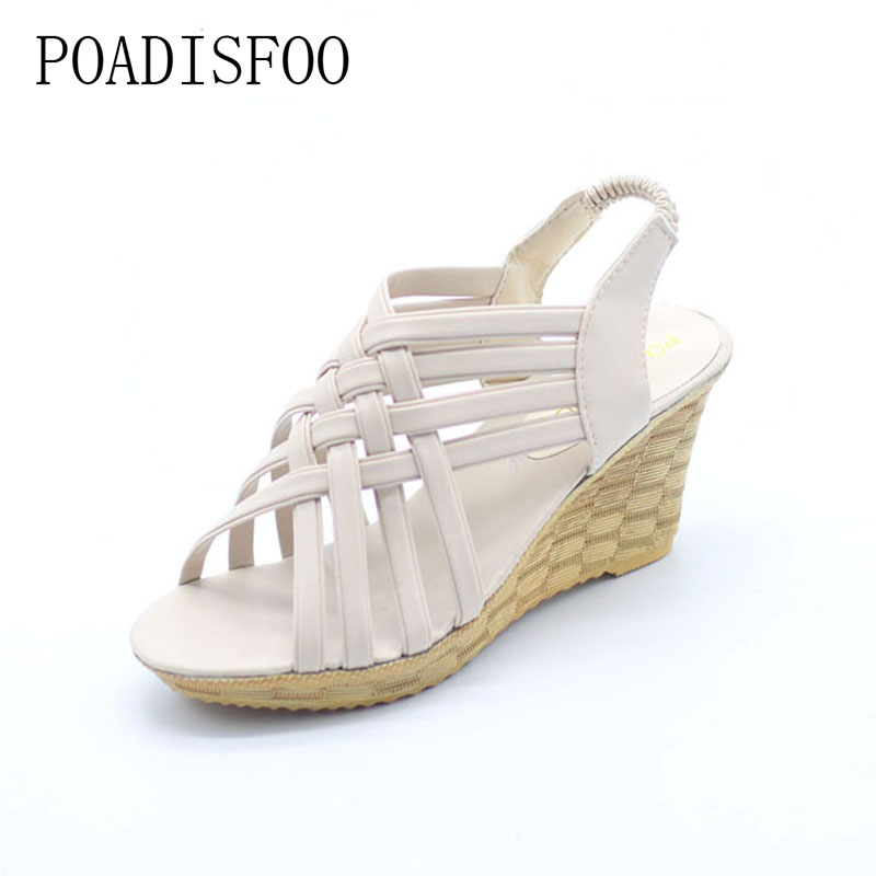 POADISFOO  shoe woman shoes Bohemian Style Summer New Cross Straps  Slope Sandals Shoes For  The Elastic Female Shoes .XL-A08 poadisfoo 2017 new ethnic women s shoes bohemian diamond slope with a large summer sandals zapatos mujer jxf 6662b