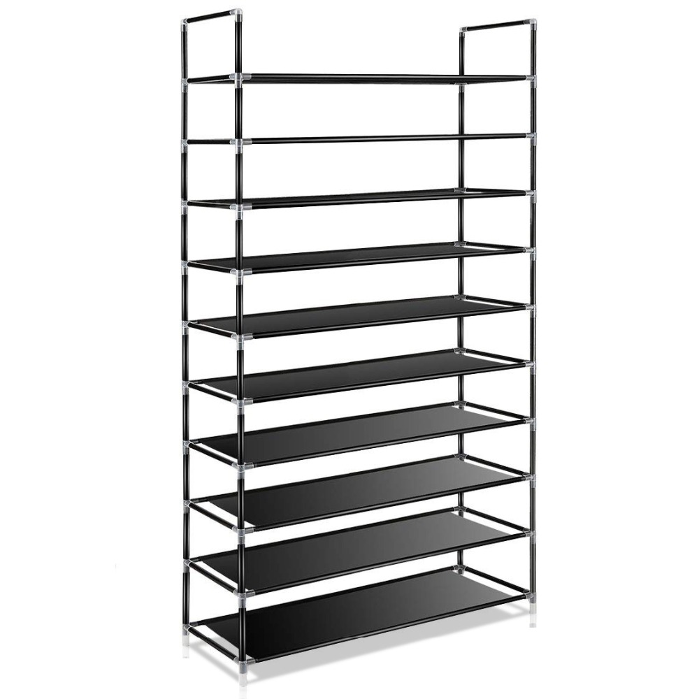 Large Capacity 10 Layers Shoe Rack Easy To Install Home 50 Pairs Shoe Organizer Space Saving Stand Holder Furniture For Door