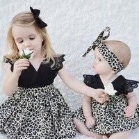 2 6Y Summer Baby Rompers Dresses Sets Sleeveless V Neck Leopard Girls Dress Headband Toddler Princess