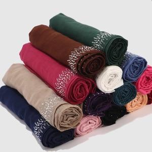Image 3 - Écharpe Hijab en coton doux et Viscose pour femmes, avec diamant, perles unies, écharpe Hijab, châle, Hijab