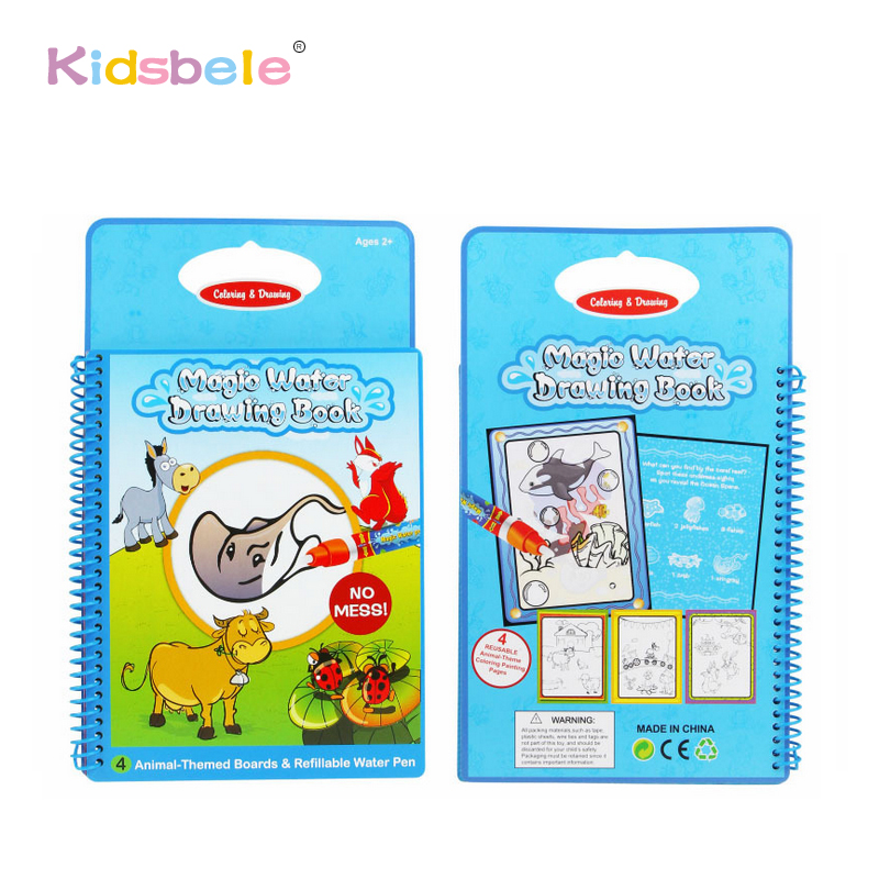 Learning&Educational Magic Water Painting Book Toys For Kids Animals Recoginze Intimate Coloring Board 1 Water Pen Baby Toys