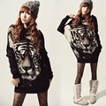 Women Vintage Tiger Printing Batwing Knitted Loose Pullover Sweater Tops