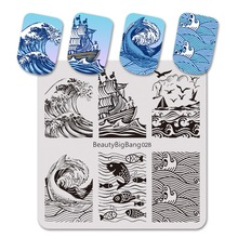 BeautyBigBang 6*6cm Stamping for nails Dolphin Fish Seagull Pattern Nail Art Stamp Stencils Template BBB028