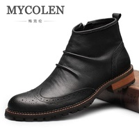 MYCOLEN Handmade Men Boots Genuine Leather Black Round Toe Luxury Fashion Business Office Formal Ankle Boots Classic Men Shoes