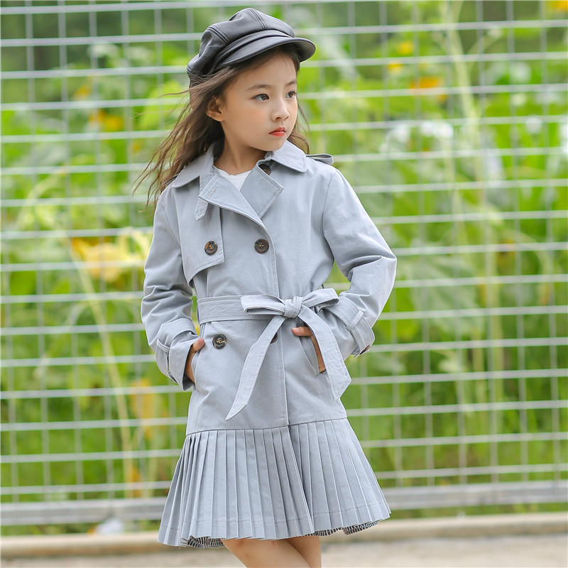 Long Jackets for Girls Coats Khaki Cotton Bow 2017 Autumn Coat for Girl 4 5 6 7 8 Years Toddler Girls Clothes Baby Child Coat