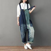 Комбинезон из джинсовой ткани женские комбинезоны свободные