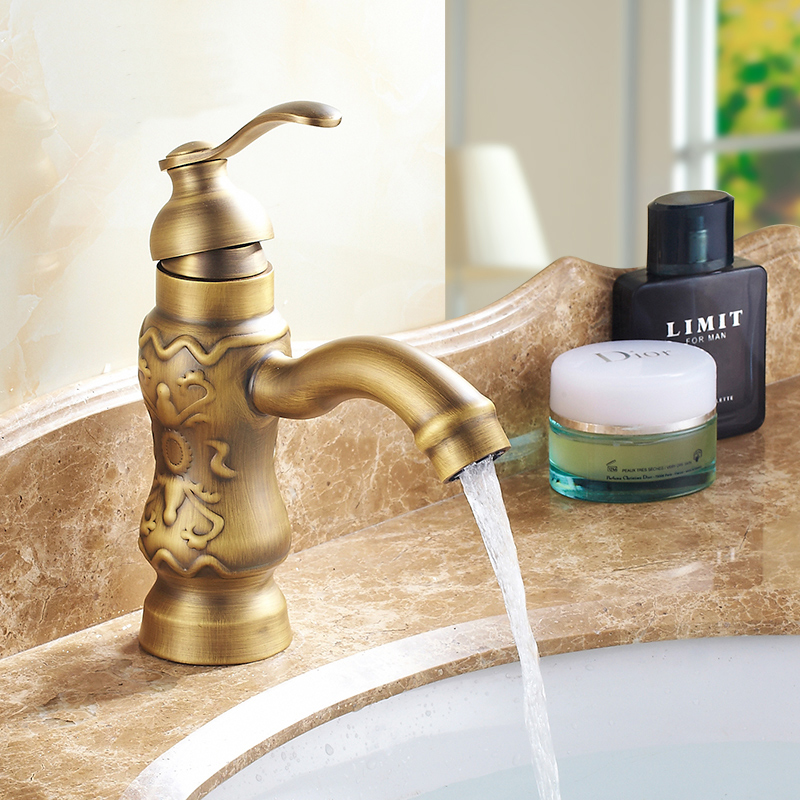 Copper kitchen carved style basin faucet antique, European Retro basin faucet bathroom, Brass basin faucet hot and cold vintage phasat 4411 retro style copper triangle valve antique brass