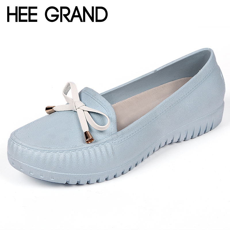 HEE GRAND Waterproof Bowtie Loafers Sweet Candy Colors Women Flats Solid Summer Style Shoes Woman 4 Colors Size 36-40 XWD6642 hee grand women sandals summer style bling bowtie peep toe jelly shoes woman crystal flats ladies 4 colors size 35 40 xwz3283