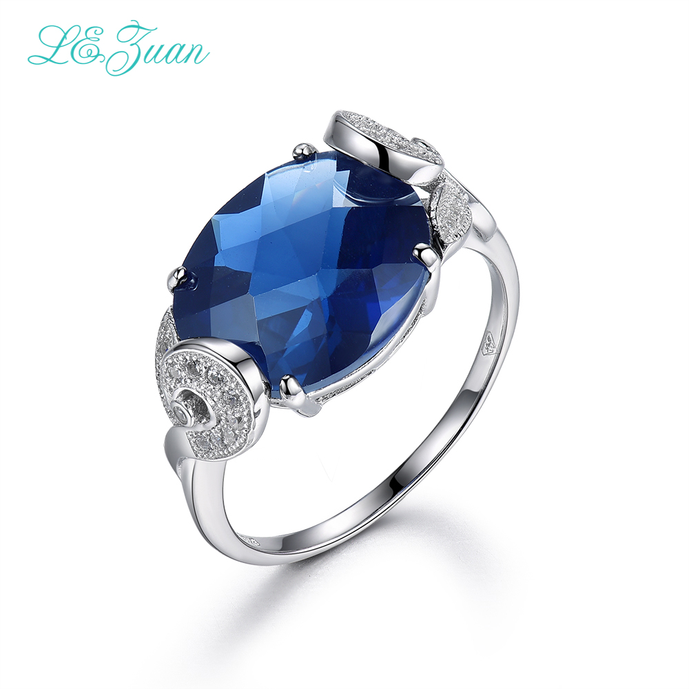 I&zuan 9.75ct Blue Stone Rings 100% 925 Sterling Silver Jewelry Ring For Women Checkerbaord Cut Gems Luxury Ring