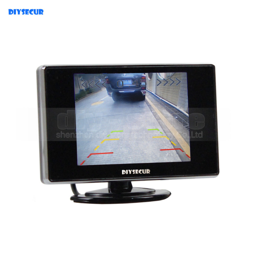 DIYSECUR 3.5 Inch Color TFT LCD Rear View Monitor Car Monitor Parking Rearview Monitor with 2CH Video Input