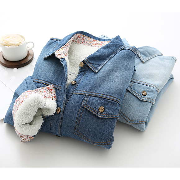Autumn Girls Women Denim Blouses Warm Thicken Long Sleeve Shirts Casual Cowboy Thermal Jeans Blouses Outerwear