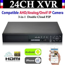 NEW 24CH Channel HD 1080P 4*HDD P2P CCTV Video Recorder Hybrid NVR AHD DVR+1080N 3-in-1 Surveillance AHD/Analog/Onvif IP Camera