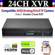 NEW 24CH Channel HD 1080P 4*HDD port CCTV Video Recorder Hybrid NVR AHD DVR+1080N 3-in-1 Surveillance AHD/Analog/Onvif IP Camera