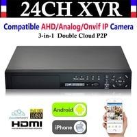 NEW 24CH Channel HD 1080P 4*HDD port CCTV Video Recorder Hybrid NVR AHD DVR+1080N 3 in 1 Surveillance AHD/Analog/Onvif IP Camera
