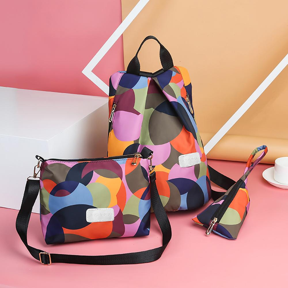 Sleeper #W401 2019 NEW FASHION Women Color Matching Wild Leisure Travel Student Backpack Three-piece Set Free Shippign