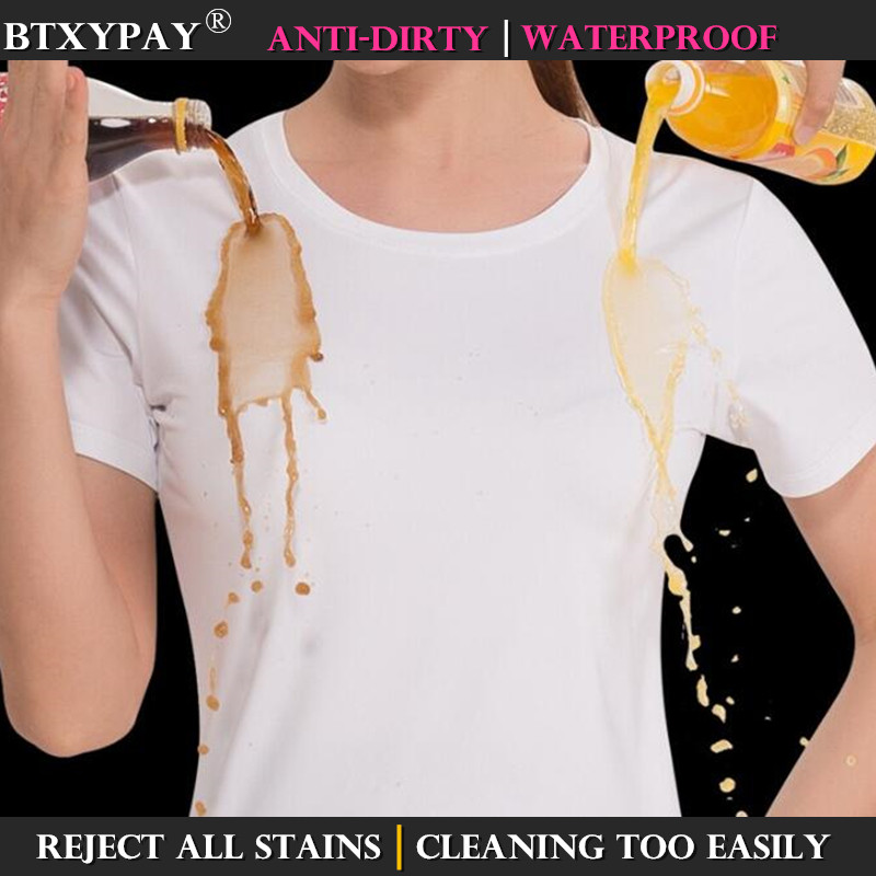 5-level Waterproof Women Anti-Dirty T Shirt Hydrophobic Stainproof Antifouling Quick Dry Top Girl's Short Sleeve Magic T-Shirt