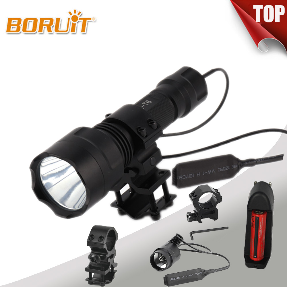 BORUIT Strong Light 2200 Lumens XML T6 Tactical LED Flashlight High Power Bright 18650 Battery C8-T6 5-Modes led Torch Gun Mount sf34 10 kit 10 xml t6 2000 lumens tactical powerful flashlight portable high power led flashlight torch 4 18650 battery charger