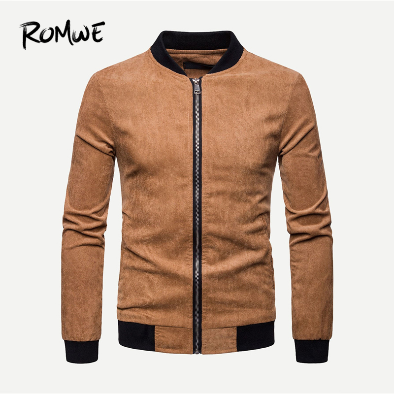 ROMWE Men Corduroy Jacket 2019 Fashion Spring Autumn Coats And Jackets Classic Comfortable Stand Collar Long Sleeve Jacket