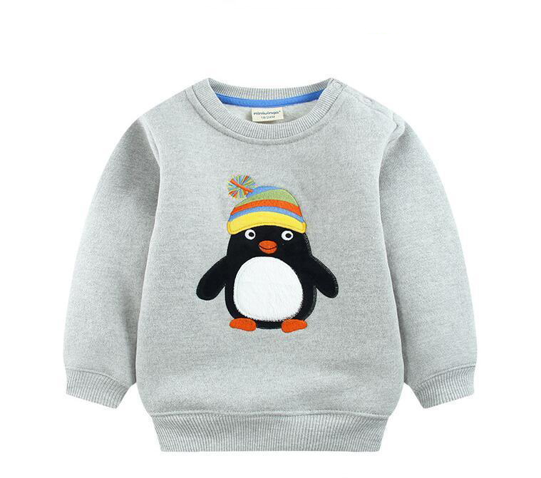 2016 Children outerwear fashion kids sport hoodies penguin and elk pattern cartoon warm fleece sweatshirt baby boy&girl clothes