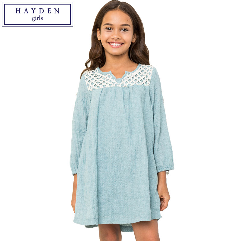 HAYDEN Girls Cotton Dress for Teenager Girl Kids Clothes 2017 Spring Summer Dresses for Teens Age 7 to 14 Years Casual Dress dali 16 1 20аб