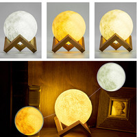Rechargeable 3D Lights Print Magical Moon Lamp 3 Color Change Touch Switch Bedroom Bookcase Usb Led