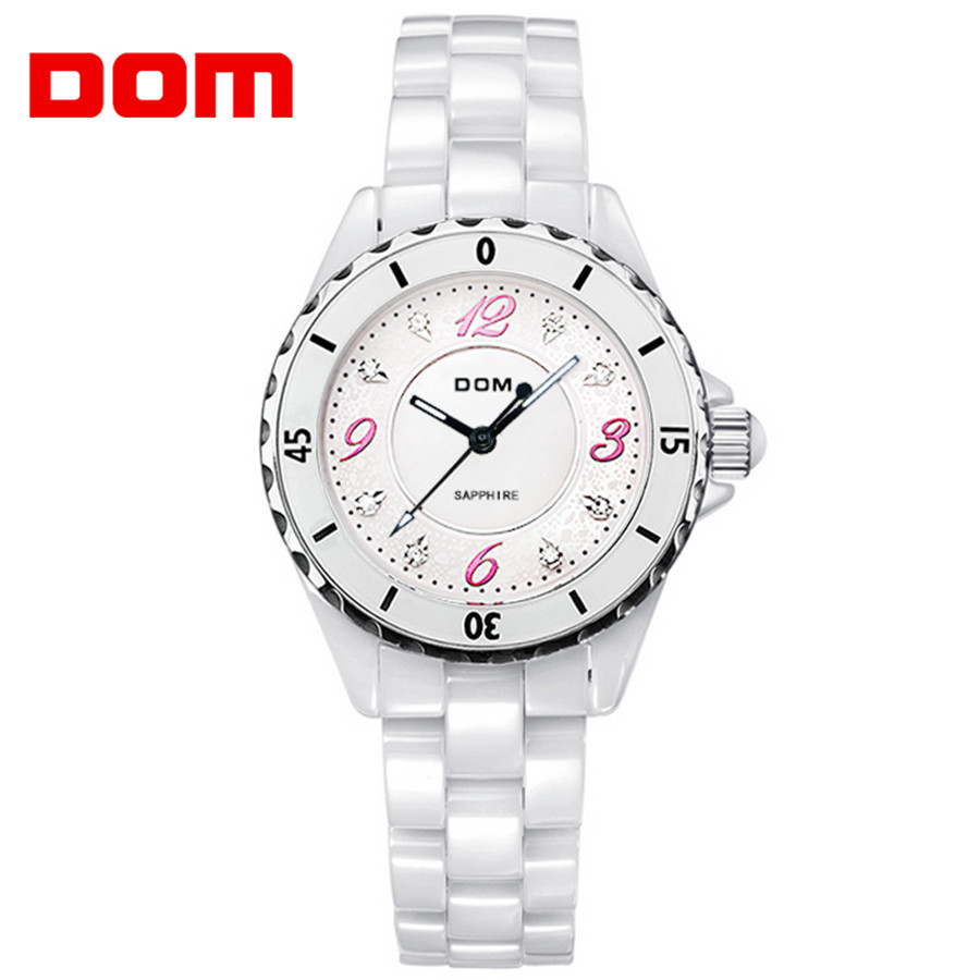 DOM Brand Women Watch Ladies Quartz ceramics Watches Lady Wristwatch Relogio Feminino Montre relogio feminino Mujer 2018 rigardu fashion female wrist watch lovers gift leather band alloy case wristwatch women lady quartz watch relogio feminino 25