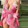 Sexy Pink Leopard Swimsuit Swim Women Bandage Monokini Push Up Swimwear 2020 Brazilian Backless Bathing Suit One Piece Suit
