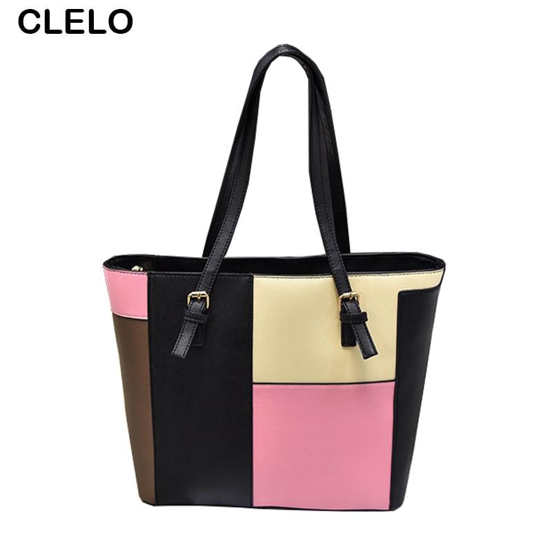 CLELO Women Bag Soft Leather Top Handle Bags Famous Designer Ladies Shoulder Bag Female Tote Handbag Patchwork Shopping Handbags