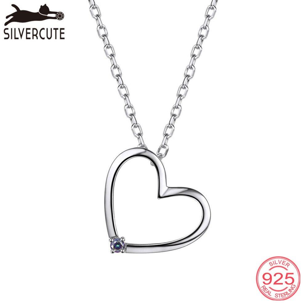 Silvercute Romantic Heart Necklace With Gemstone Topaz 925 Sterling Silver Pendant & Chain Fine Jewelry For Women SCP6015B